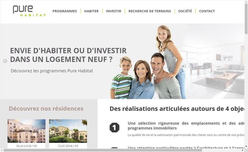 Capture d'écran du site de Pure Habitat