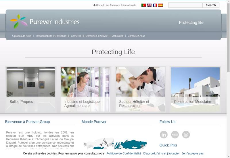Capture d'écran du site de Purever Tech
