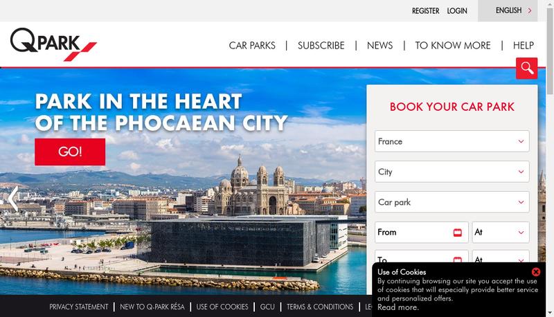 Capture d'écran du site de Q-Park Boulogne