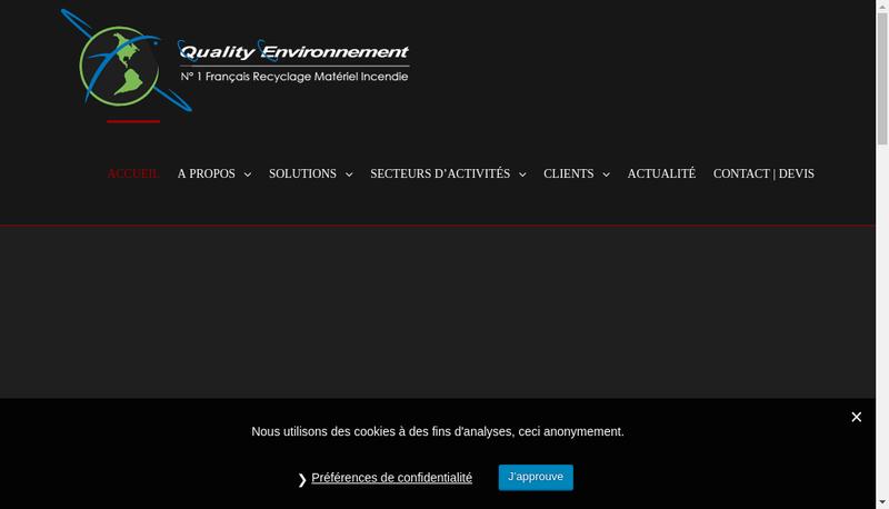 Capture d'écran du site de Quality Environnement