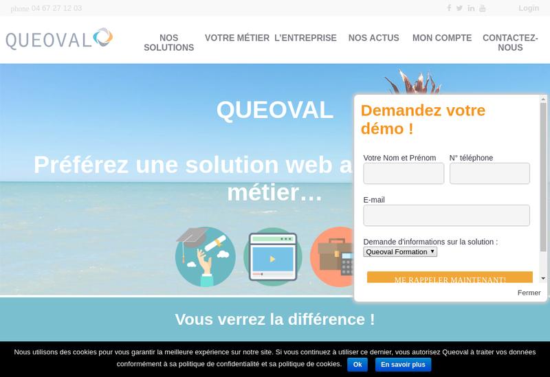 Capture d'écran du site de Queoval