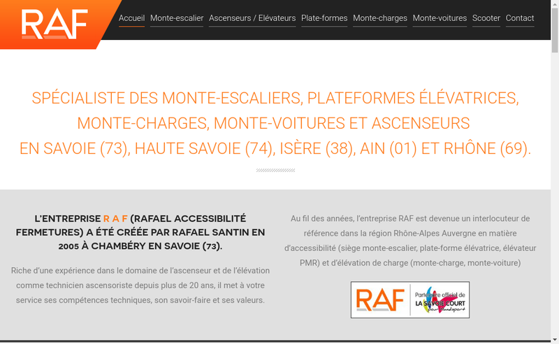 Capture d'écran du site de Rafael Accessiblite Fermetures-RAF