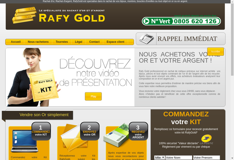 Capture d'écran du site de Rafy Gold