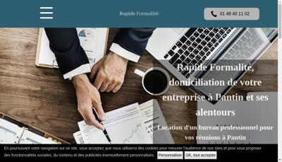 Capture d'écran du site de Rapide Formalite