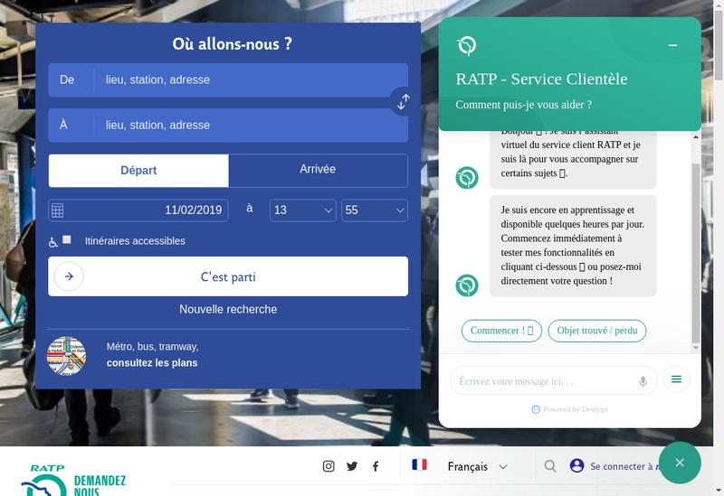 Capture d'écran du site de RATP