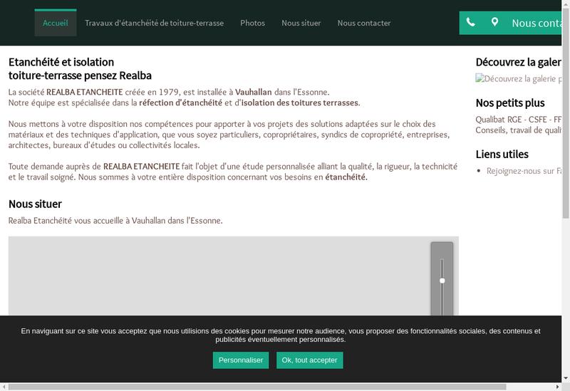 Capture d'écran du site de Realba Etancheite