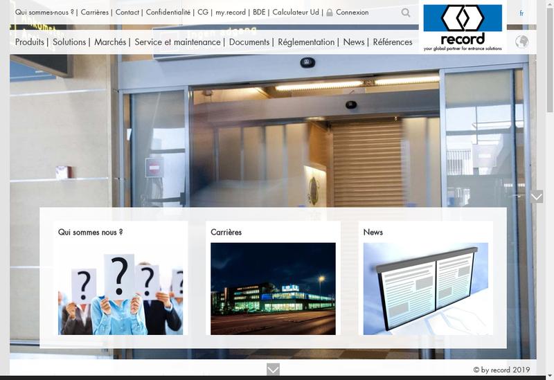 Capture d'écran du site de Record Portes Automatiques
