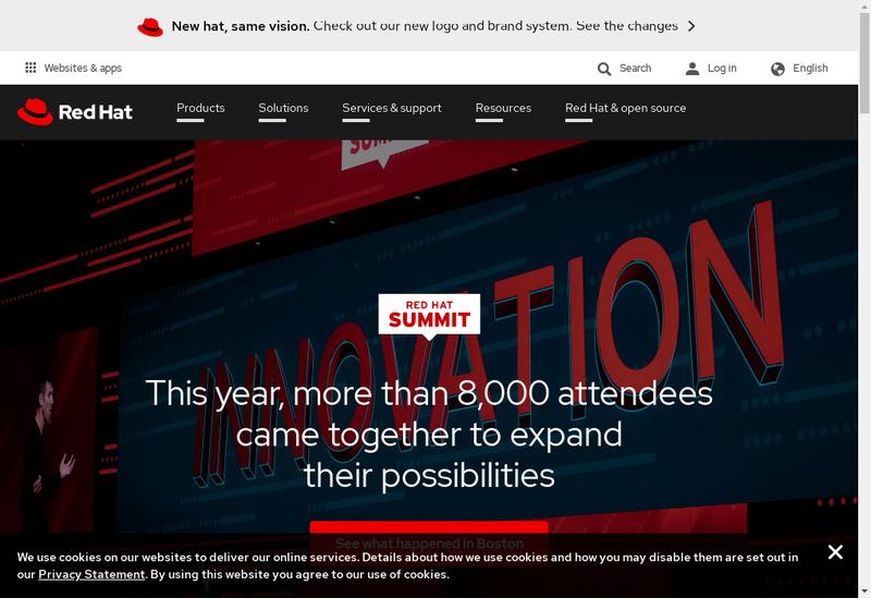 Capture d'écran du site de Red Hat France