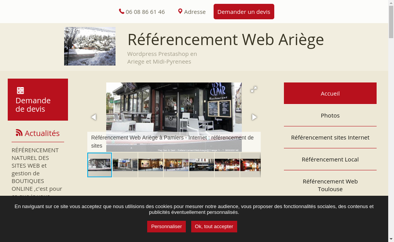 Capture d'écran du site de Jose Verges