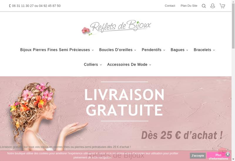 Capture d'écran du site de Reflets de Bijoux