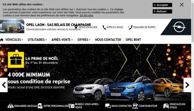 Capture d'écran du site de Garage Opel