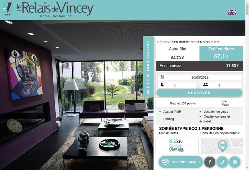 Capture d'écran du site de Relais de Vincey