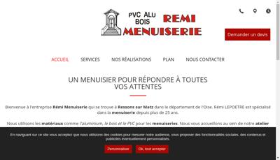 Capture d'écran du site de SARL Remi Menuiserie