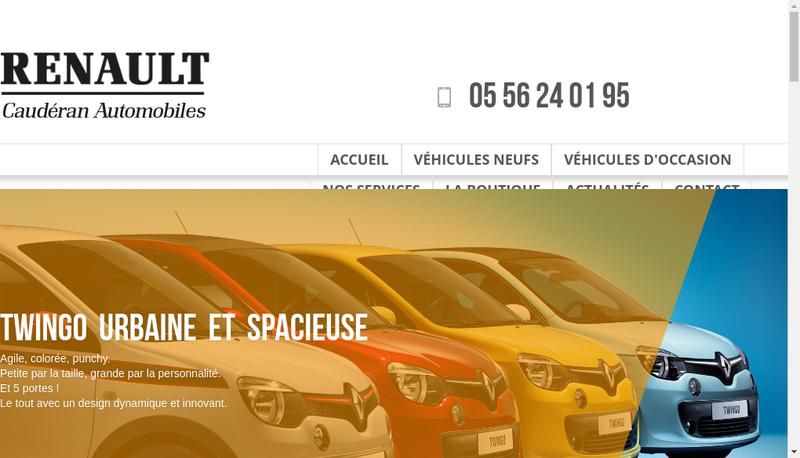 Capture d'écran du site de Cauderan Automobiles