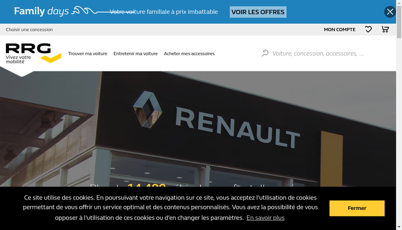 Capture d'écran du site de Renault Retail Group