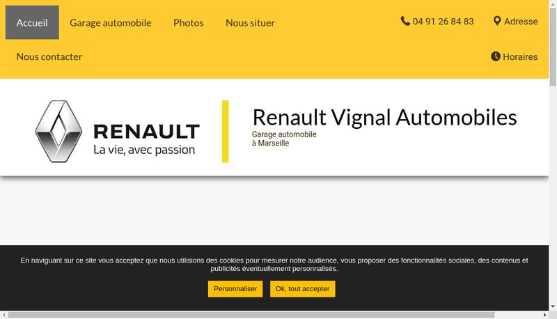 Capture d'écran du site de Vignal Automobiles