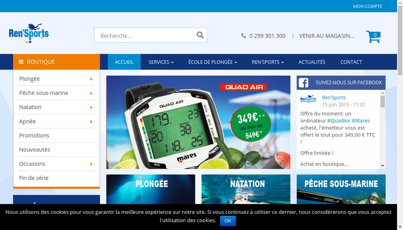 Capture d'écran du site de Ren'Sports