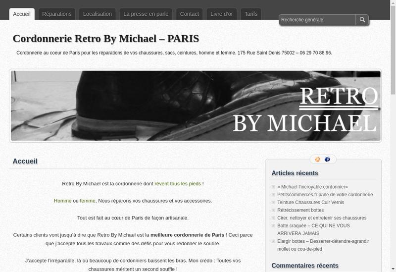 Capture d'écran du site de Retro By Michael