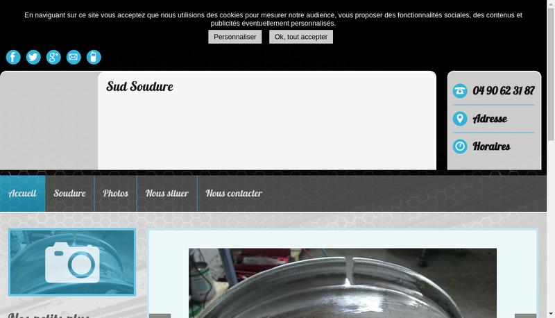 Capture d'écran du site de Sud Soudure