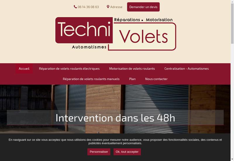 Capture d'écran du site de Techni-Volets