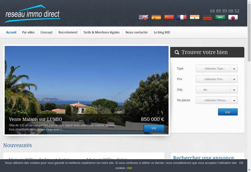 Capture d'écran du site de Reseau Immo Direct