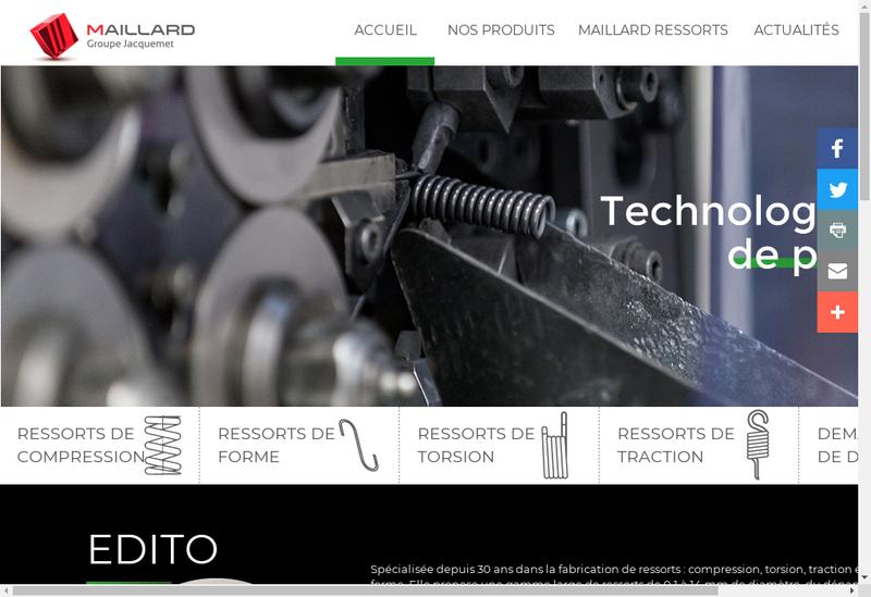 Capture d'écran du site de Ressorts Maillard