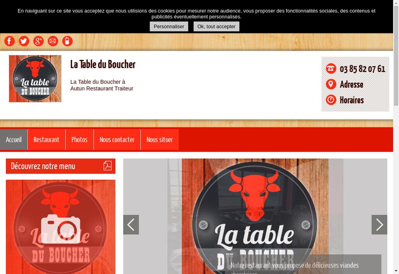 Capture d'écran du site de La Table du Boucher