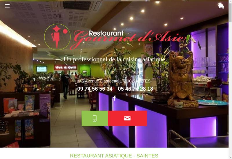 Capture d'écran du site de Gourmet d'Asie