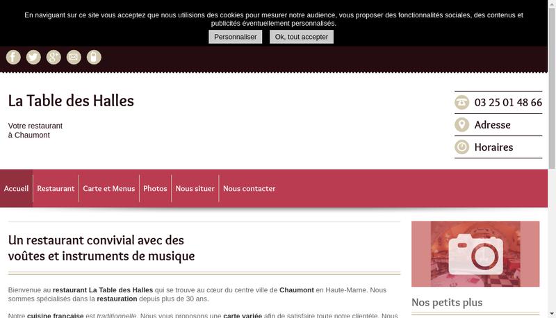 Capture d'écran du site de La Table des Halles