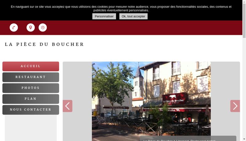Capture d'écran du site de Bistro Restaurant la Piece du Boucher