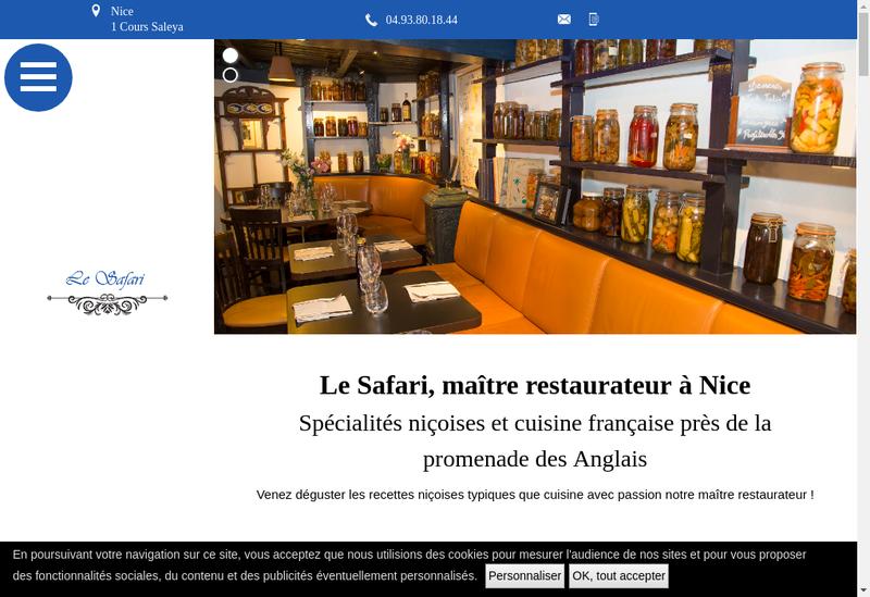 Capture d'écran du site de SARL le Safari