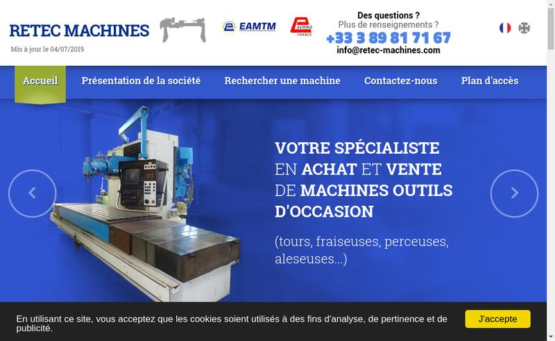 Capture d'écran du site de Retec Machines