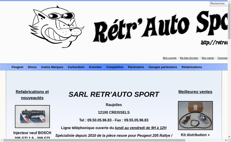 Capture d'écran du site de Retr Auto Sport