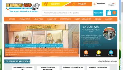 Site internet de Retrogame - Shop