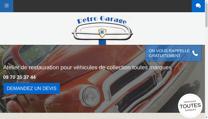 Capture d'écran du site de Retro Garage 90 SARL