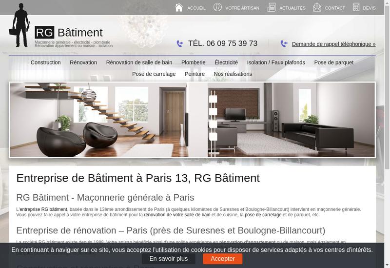 Capture d'écran du site de RG Batiment