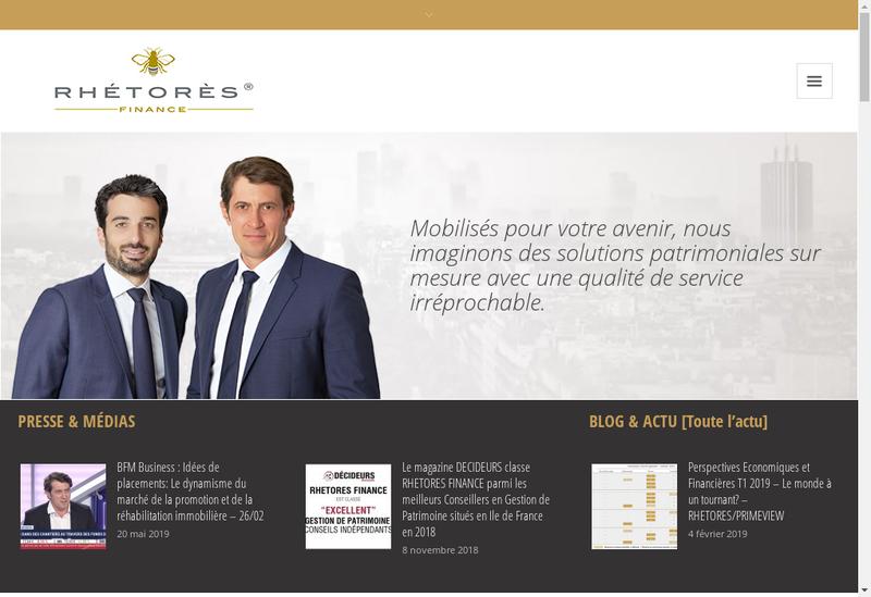 Capture d'écran du site de Rhetores Finance
