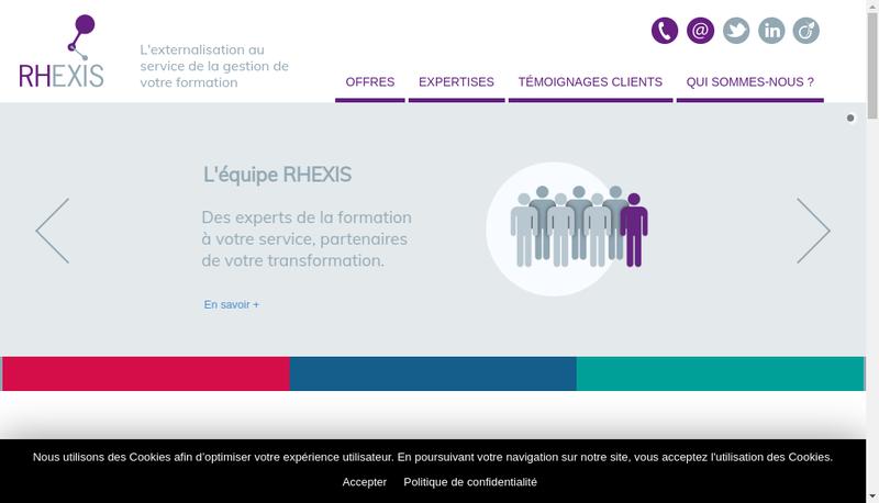 Capture d'écran du site de Rhexis