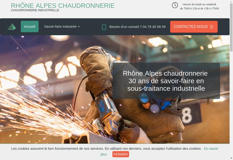 Capture d'écran du site de Alpes Chaudronnerie
