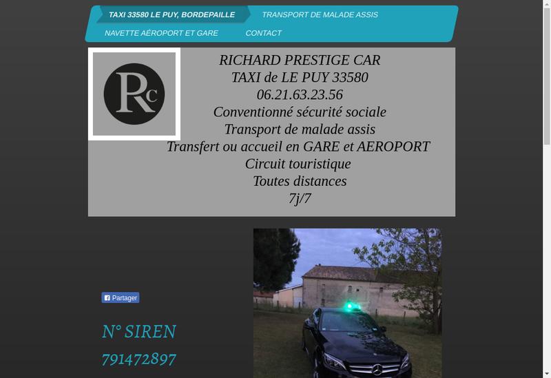 Capture d'écran du site de Richard Prestige Car