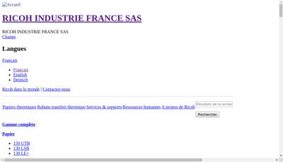 Capture d'écran du site de Ricoh Industrie France