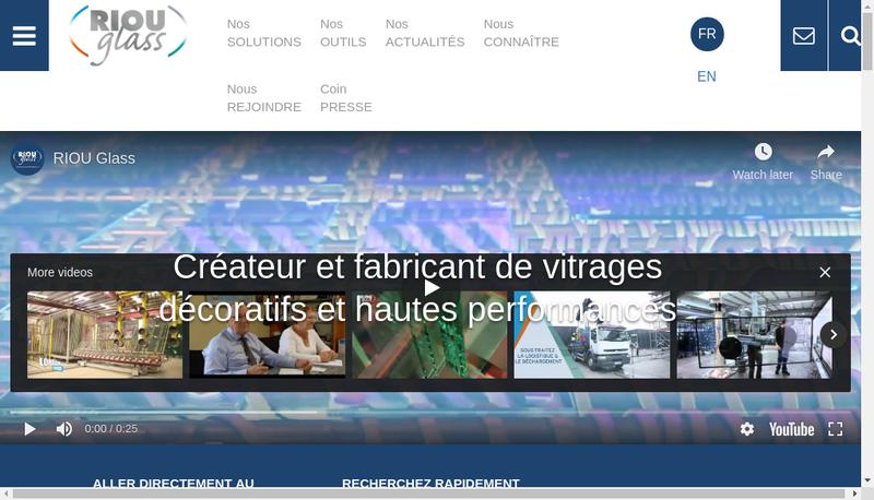 Capture d'écran du site de Riou Glass