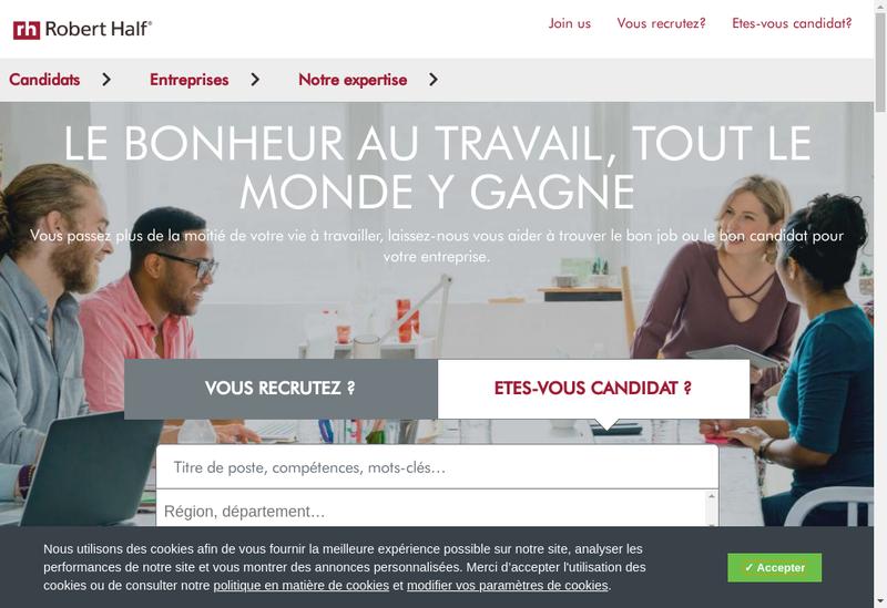 Capture d'écran du site de R Half Financ & Compta Banque & Assura