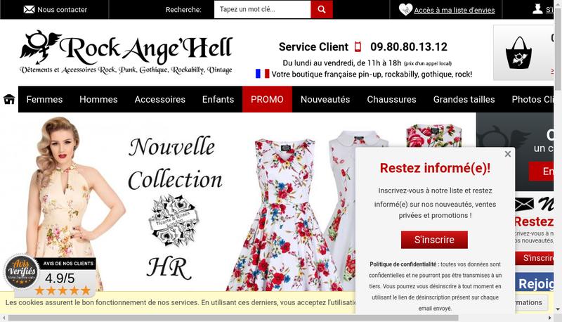Capture d'écran du site de Rock Ange'Hell