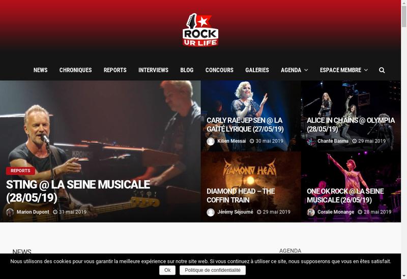 Capture d'écran du site de Rockurlife