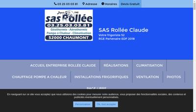 Capture d'écran du site de SAS Rollee Claude