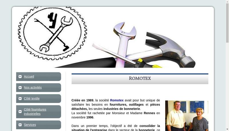 Capture d'écran du site de Romotex