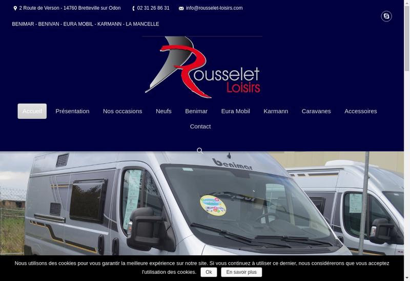 Capture d'écran du site de Rousselet Loisirs