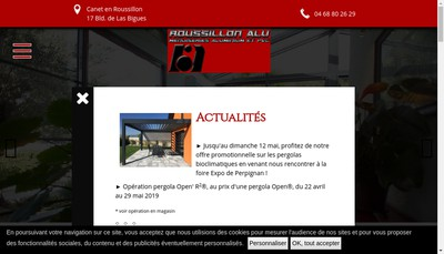 Site internet de SA Roussillon Alu