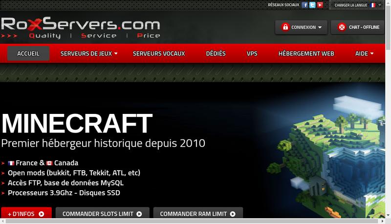 Capture d'écran du site de Roxservers Com